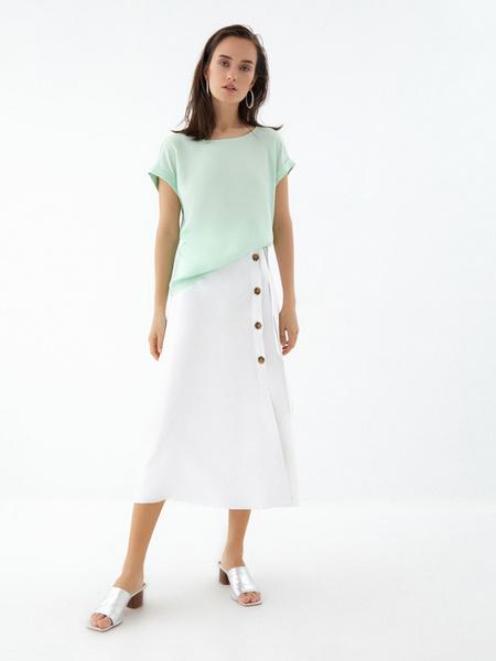Блузка с подворотами на рукавах - фото 7