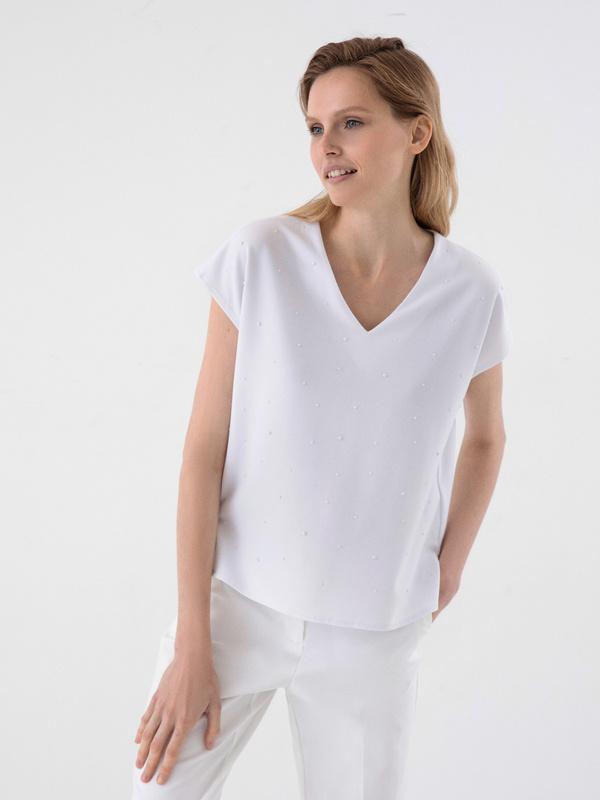 Блузка с бусинами - фото 1