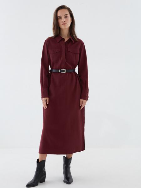 Платье-рубашка с ремнем - фото 1