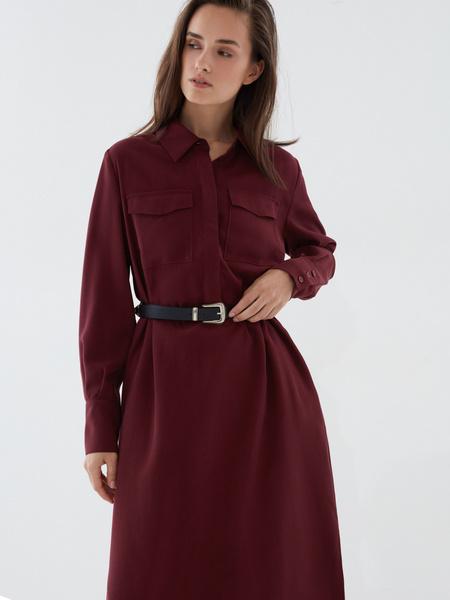 Платье-рубашка с ремнем - фото 2
