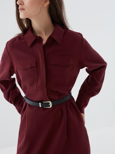 Платье-рубашка с ремнем - фото 3