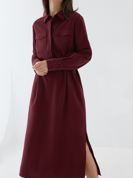 Платье-рубашка с ремнем - фото 4