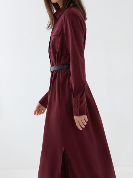 Платье-рубашка с ремнем - фото 5