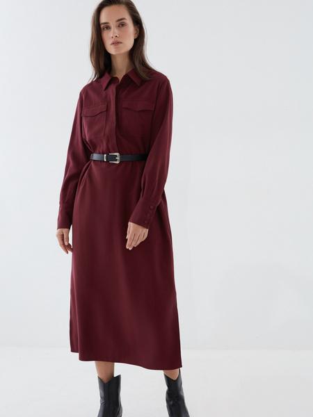 Платье-рубашка с ремнем - фото 6