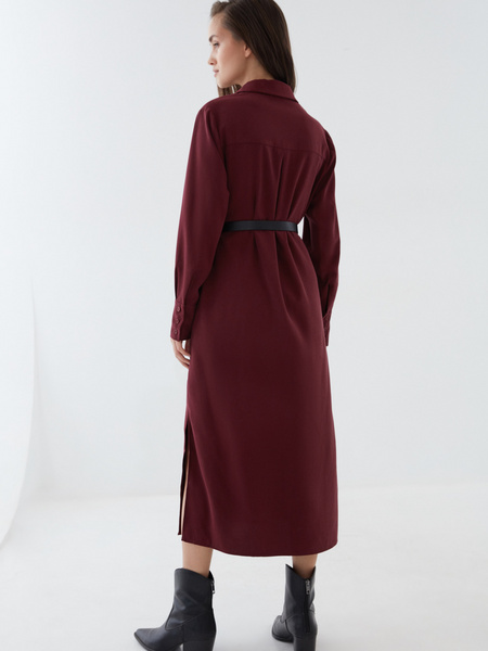 Платье-рубашка с ремнем - фото 7
