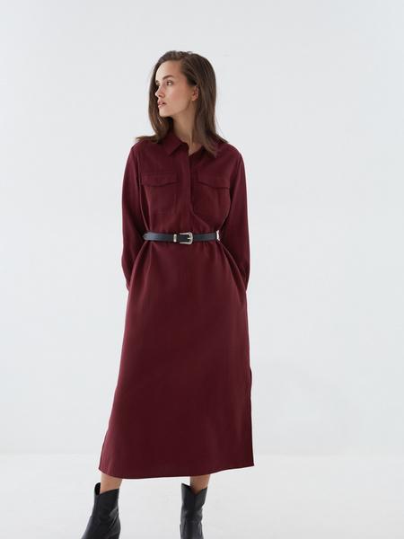 Платье-рубашка с ремнем - фото 8