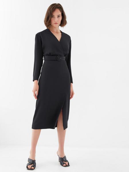 Платье-миди с поясом - фото 1
