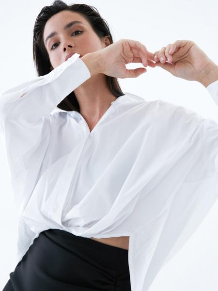 Блузка с перекрученным низом - фото 4