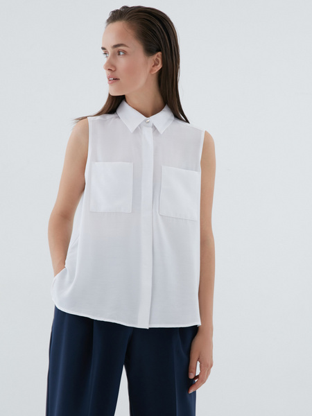 Блузка с накладными карманами - фото 4