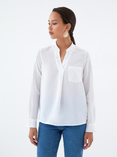 Блузка с воротником-стойкой - фото 1