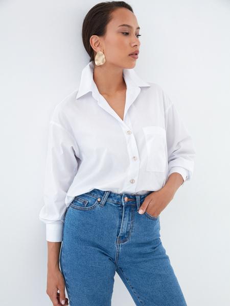 Хлопковая блузка с карманом