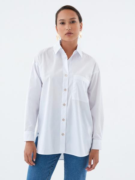 Хлопковая блузка с карманом - фото 2