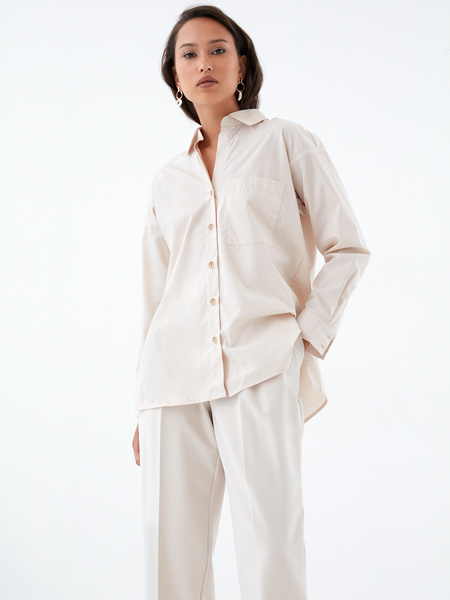 Хлопковая блузка с карманом - фото 1