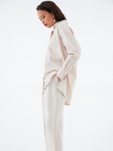 Хлопковая блузка с карманом - фото 3