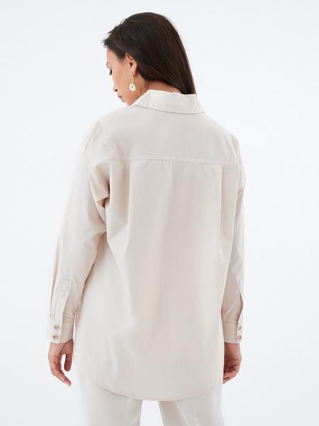 Хлопковая блузка с карманом - фото 5