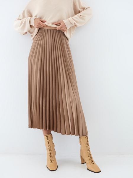 Плиссированная юбка-миди - фото 1