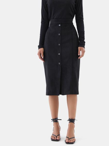 Замшевая юбка-карандаш на пуговицах - фото 2