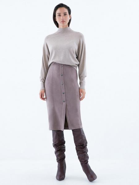 Замшевая юбка-карандаш на пуговицах - фото 1