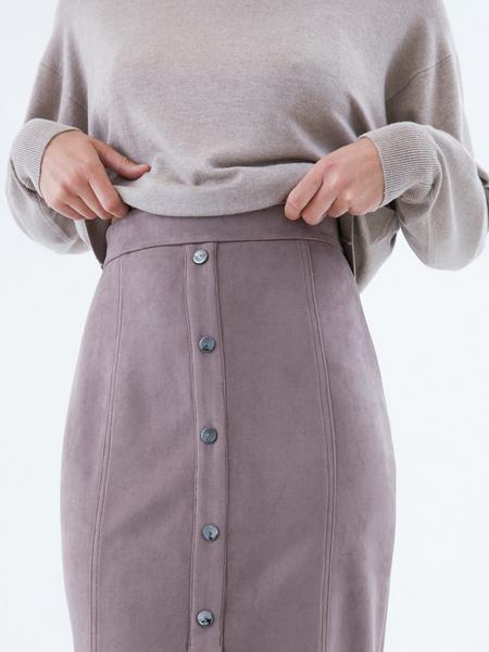 Замшевая юбка-карандаш на пуговицах - фото 3
