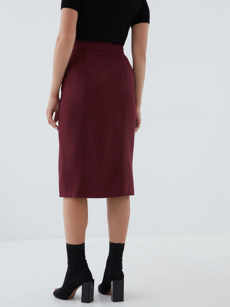 Замшевая юбка-карандаш на пуговицах - фото 4