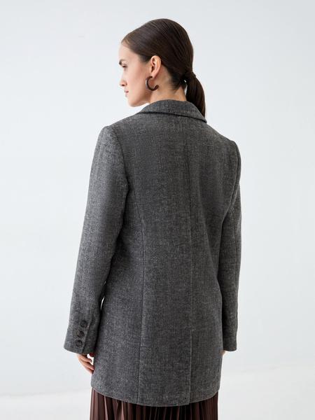 Полупальто-жакет с шерстью - фото 4