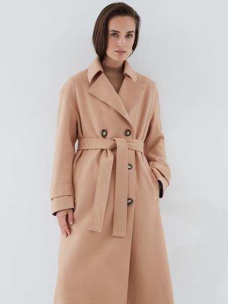 Двубортное пальто на поясе
