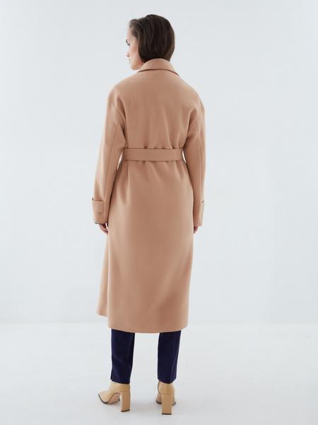 Двубортное пальто на поясе - фото 7