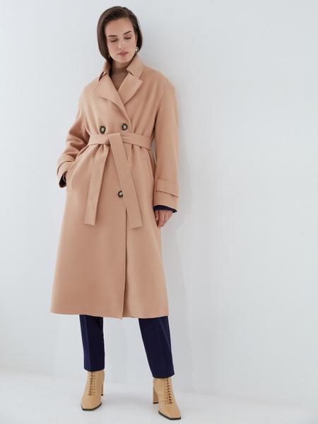 Двубортное пальто на поясе - фото 8