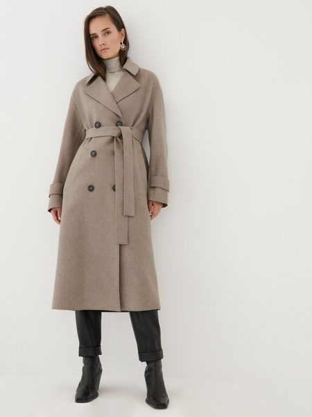 Двубортное пальто на поясе - фото 1