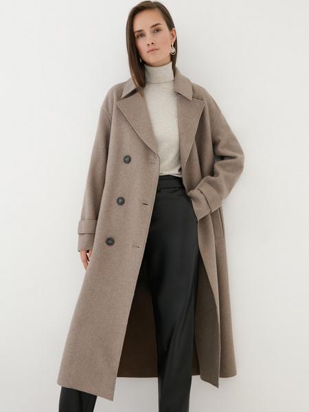 Двубортное пальто на поясе - фото 5