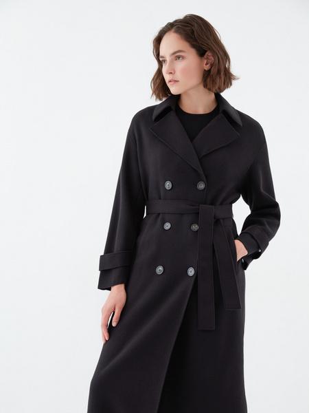 Двубортное пальто на поясе - фото 2