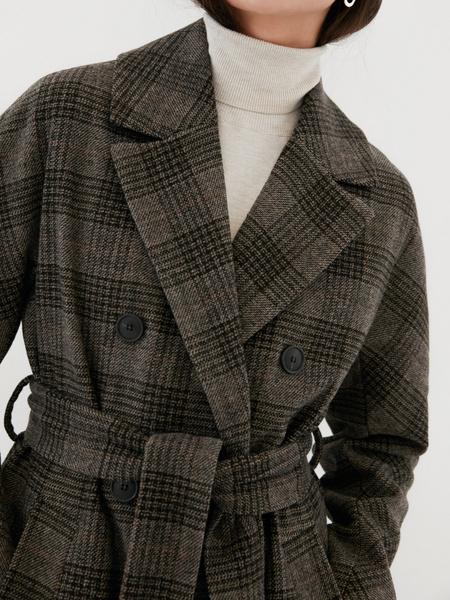 Удлиненное пальто на поясе - фото 2