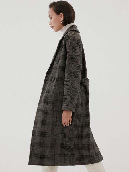 Удлиненное пальто на поясе - фото 5