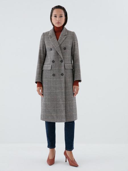 Прямое пальто с шерстью