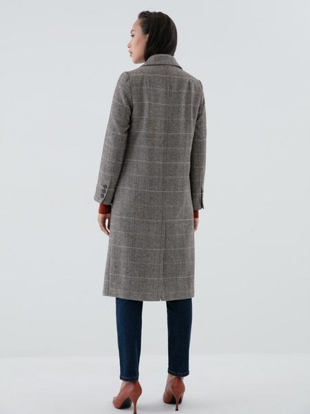 Прямое пальто с шерстью - фото 5