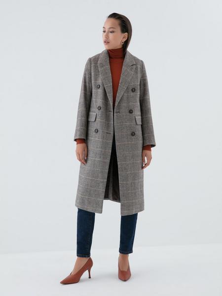 Прямое пальто с шерстью - фото 6
