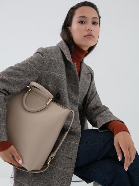 Прямое пальто с шерстью - фото 7