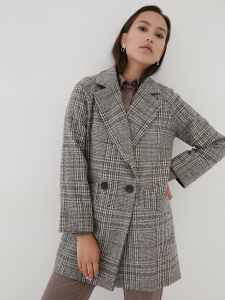 Прямое пальто с шерстью - фото 1
