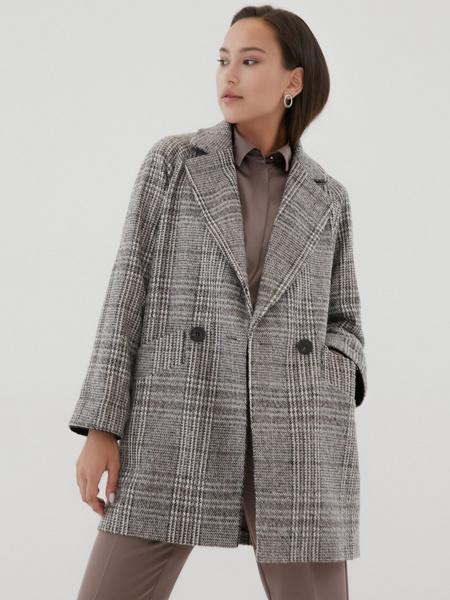 Прямое пальто с шерстью - фото 3