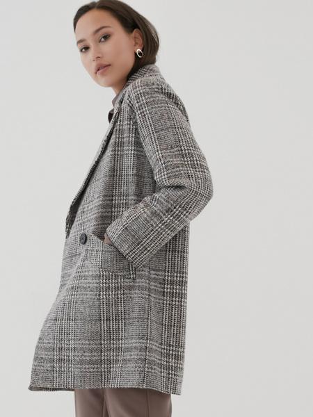 Прямое пальто с шерстью - фото 4