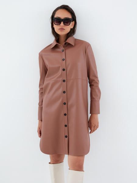 Платье-рубашка из экокожи