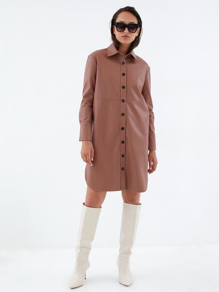Платье-рубашка из экокожи - фото 6