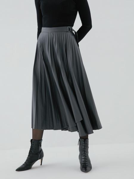 Плиссированная юбка из экокожи - фото 2