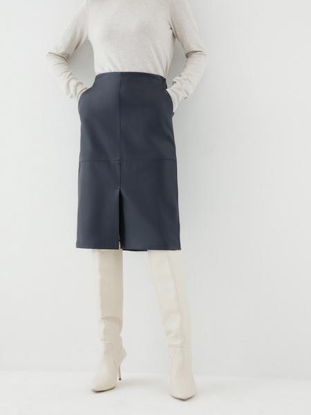 Юбка из экокожи с карманами - фото 2