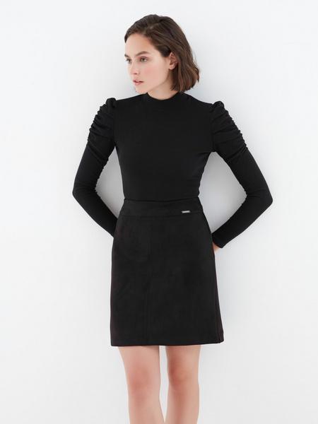Замшевая юбка-трапеция - фото 5