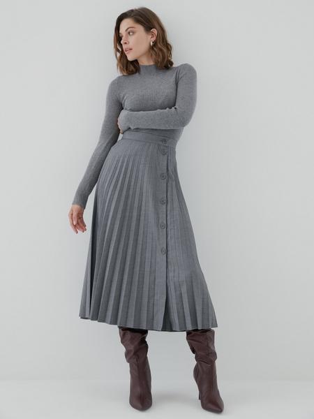 Плиссированная юбка на пуговицах - фото 1