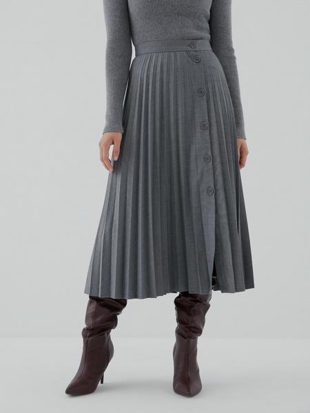 Плиссированная юбка на пуговицах - фото 2