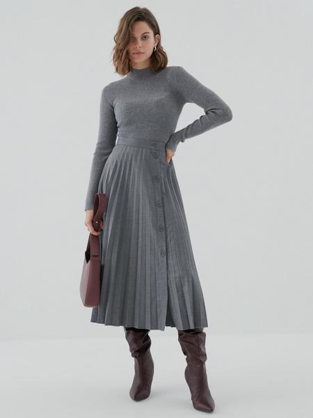Плиссированная юбка на пуговицах - фото 5