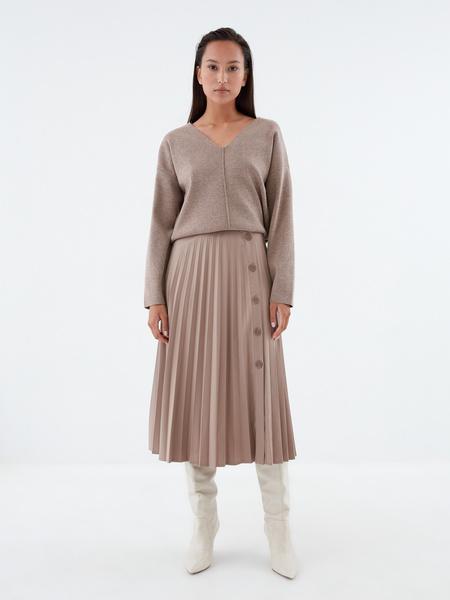Плиссированная юбка на пуговицах
