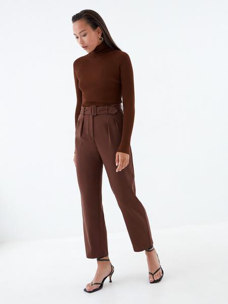 Прямые брюки с поясом - фото 1